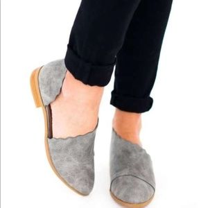 SHOPFOR_FUN BOUTIQUE Shoes - LADIES GREY SCALLOPED FLAT SHOES